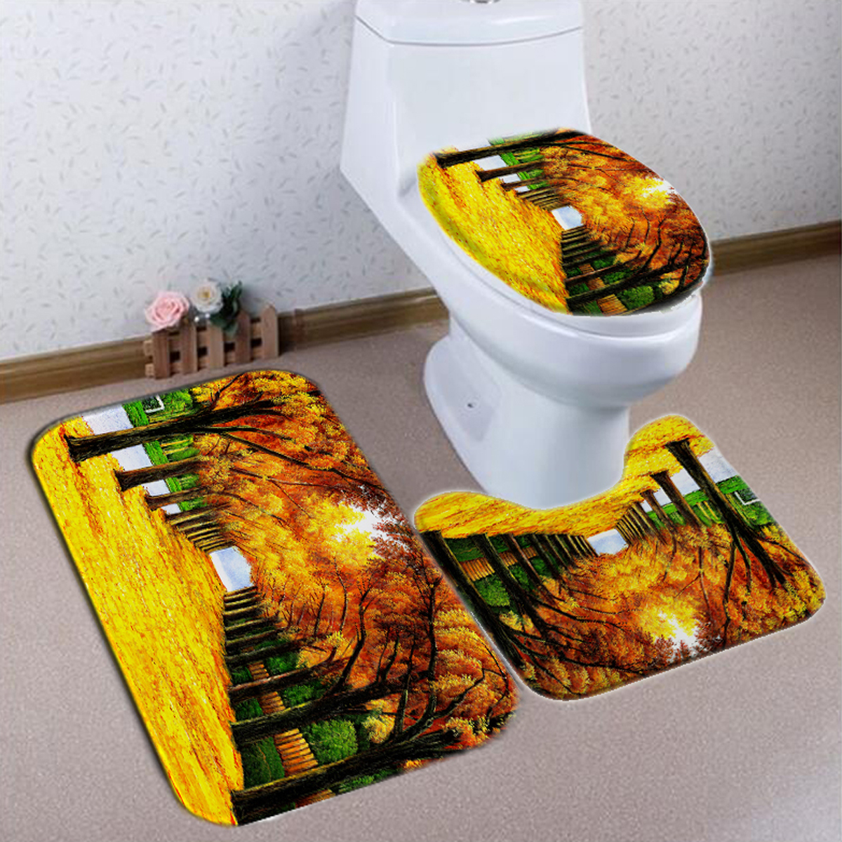Yellow Forest Oil Painting Style Waterproof Mildew-proof ...