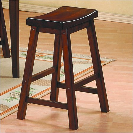 Homelegance Saddleback 24 Seat Height Bar Stool In Warm Brown Cherry Finish Set Of