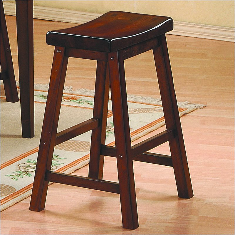 "Homelegance Saddleback 24"" Seat Height Bar Stool in Warm Brown Cherry Finish (Set of 2)"