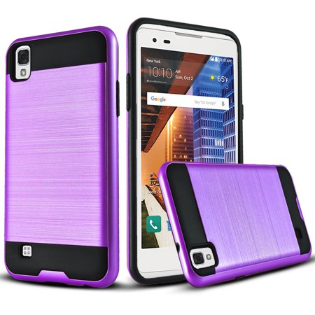 LG Tribute HD Case, Dual Layers Phone Cover Bundled with [Tempered Glass Screen Protector] Hybird Shockproof And Circlemalls Stylus Pen (Violet Purple)… (Lg G3 Violet)