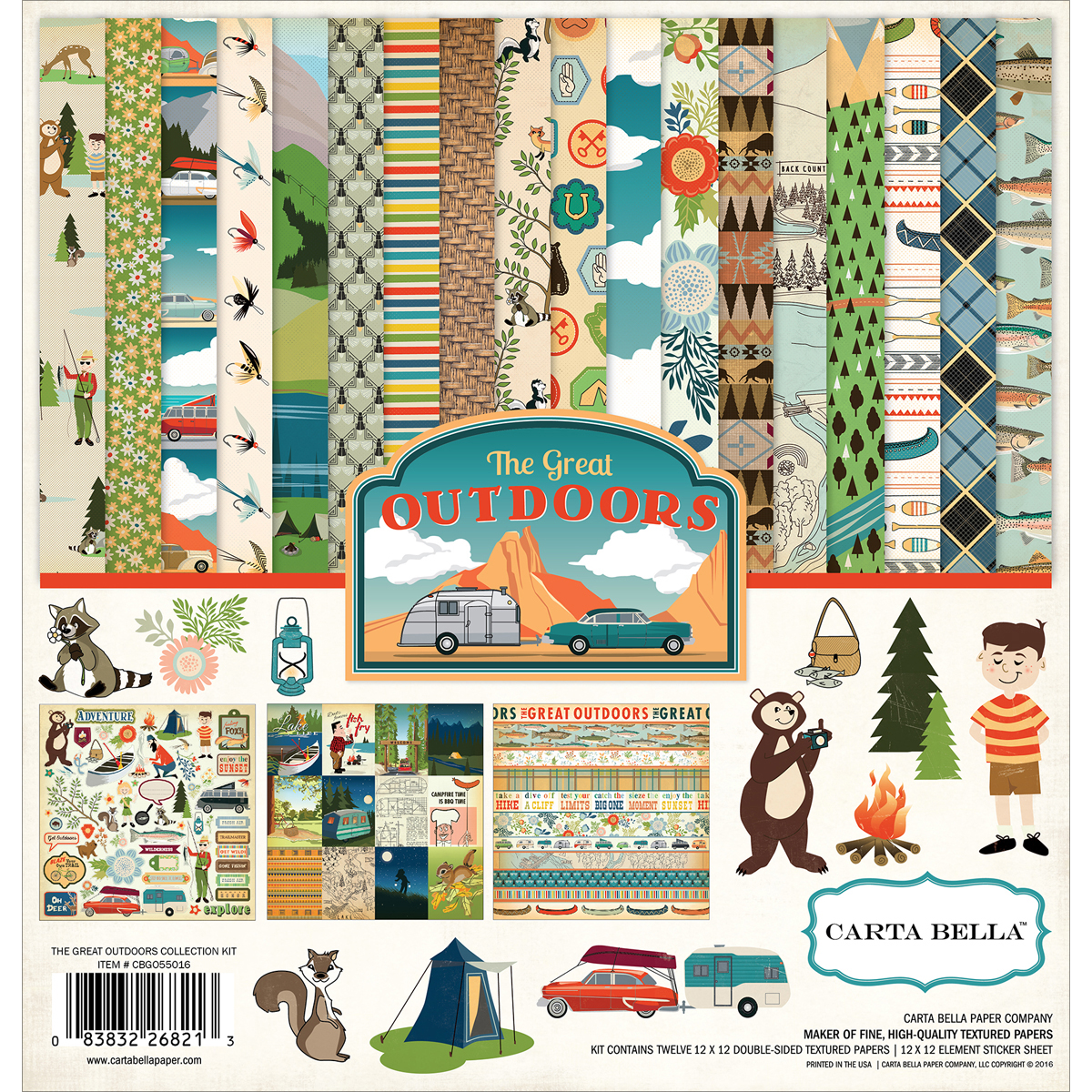 """Carta Bella Collection Kit, 12"""" x 12"""", Great Outdoors"""