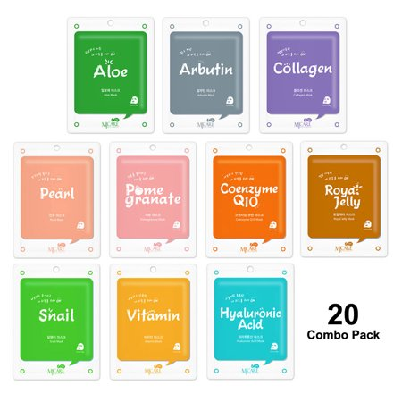 The Elixir Beauty Korea Cosmetic Collagen Essence Full Face Facial Mask Sheet, 20 Combo Pack