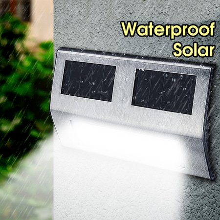 Stainless Steel Waterproof Garden 2 LED Security Solar Lights Panel Outdoor Wall Light for Home Path Porch Patio Deck Driveway Stairs Back Door (Outdoor Solar Panels)