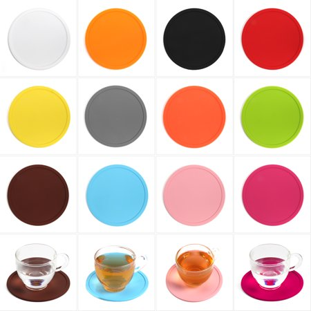 CUH Anti-slip PVC Circular Silicone Drink Coaster Holder Pad Cup Coffee Mat Placemat for Drinks - Cup Holder Coaster