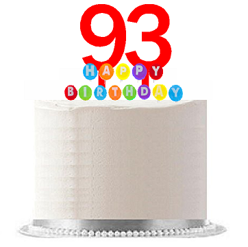 Item#093WCD - Happy 93rd Birthday Party Red Cake Topper & Rainbow Candle Stand Elegant Cake Decoration Topper Kit