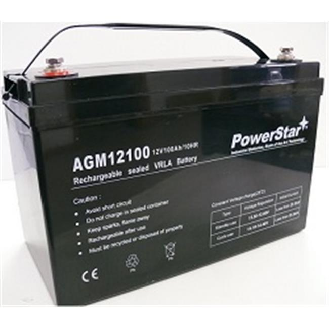 PowerStar AGM12100-06 12V 100Ah Group 27 SLA Rechargeable Battery Insert Terminals
