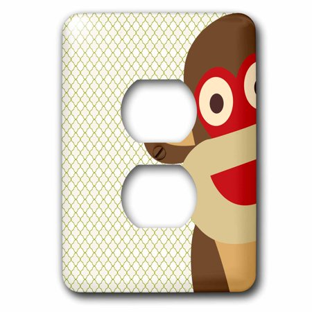 3dRose Sock Monkey Peeking Around Corner - Cute Animal Art - 2 Plug Outlet Cover (lsp_63511_6)