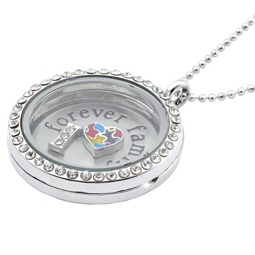 Zodaca Forever Family Style Living Memory Floating Glass Locket Charms Necklace Pendant Chain Gift Stainless Steel 1.2""