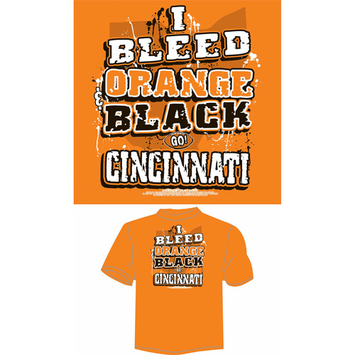 "Cincinnati Football ""I Bleed Orange and Black, Go Cincinnati"" T-Shirt, Orange"