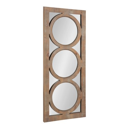 Kate and Laurel Middlebury Decorative Window Pane Wooden Panel Wall Mirror, Rustic Brown