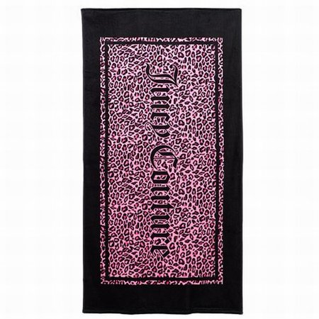 Juicy Couture Pink & Black Cheetah Print Turkish Cotton Velour Beach Towel 34x64 (Pink Cheetah Print)
