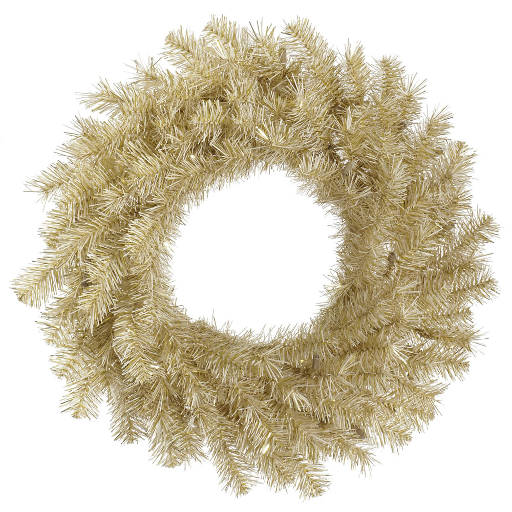 "Vickerman 36"" White-Gold Tinsel Artificial Christmas Wreath Unlit"