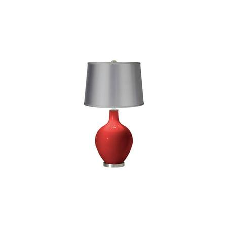Color + Plus Cherry Tomato - Satin Light Gray Shade Ovo Table Lamp Light Gray Cherry