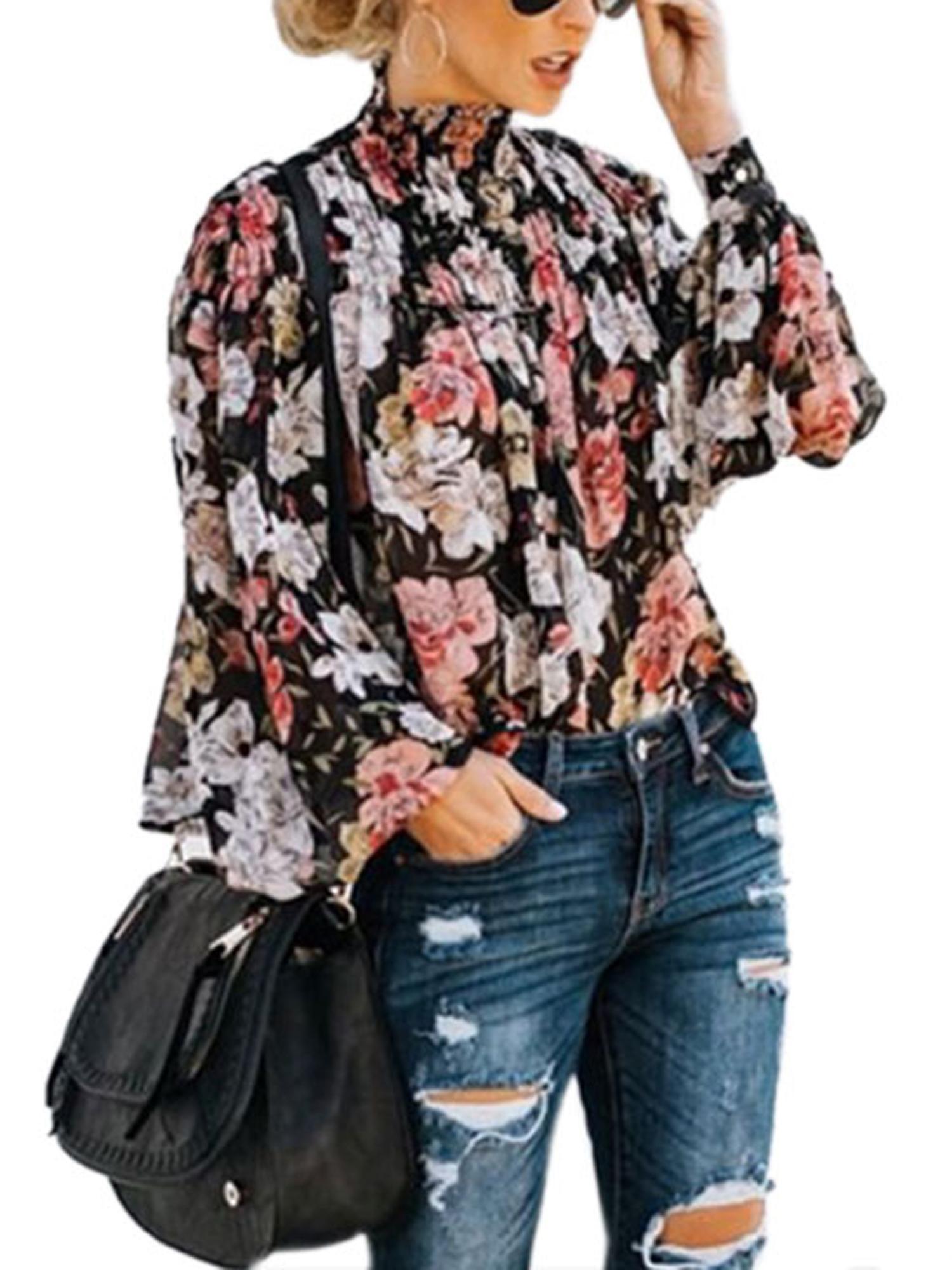 Womens Elegant Long Sleeve Blouses Top Classic Floral Blouse Shirt
