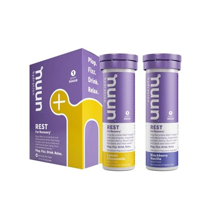 Nuun Rest: Relaxation & Rest Aid Drink Tablets, Lemon Chamomile and BlackBerry Vanilla Mixed Pack, Muscle Relaxer, Stress Relief, Sleep & Recovery Supplement, Box of 2 Tubes (20 Servings) Mixed Flavor