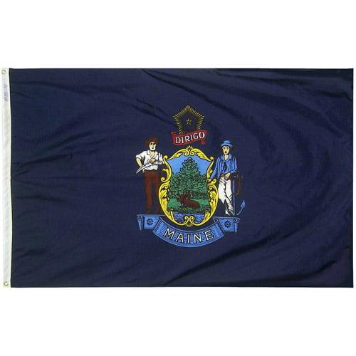 Maine State Flag, 3' x 5', Nylon SolarGuard Nyl-Glo, Model# 142260