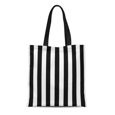 LADDKE Canvas Tote Bag Modern Black and White Wide Stripes Big Striped Pattern Reusable Handbag Shoulder Grocery Shopping Bags - Black And White Striped Bag
