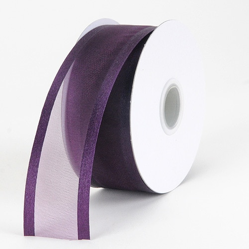 Plum - Organza Ribbon Two Striped Satin Edge - ( 5/8 inch   25 Yards )
