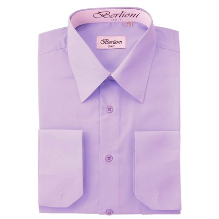 BERLIONI MEN'S CONVERTIBLE CUFF SOLID DRESS SHIRT-LILAC-S sleeve 32/33