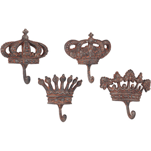 Wilco Crown Wall Hooks, Brown, Set of 4