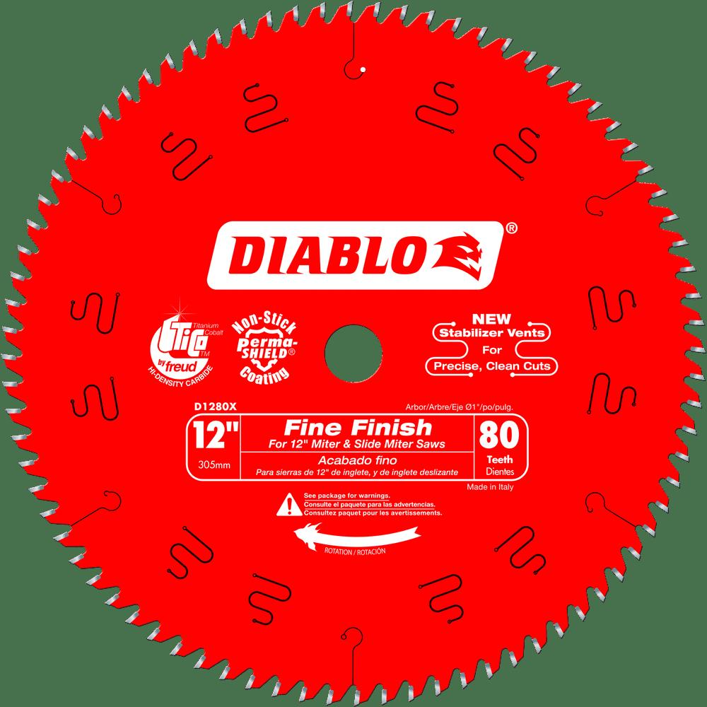 """Diablo D1280X 12"""" 80T Diablo Fine Finish Work Chop Slide Miter Saw Blade by Diablo"""