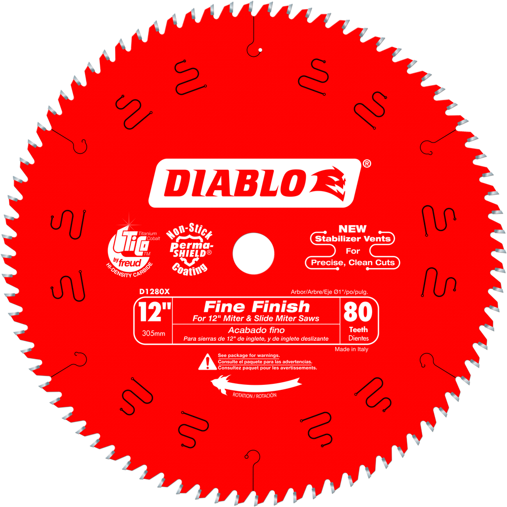 "Diablo D1280X 12"" 80T Diablo Fine Finish Work Chop/Slide Miter Saw Blade"