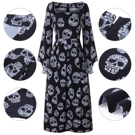 Women Halloween Skull Print Square Neck Ruffle Sleeve Graceful Maxi Dress ()