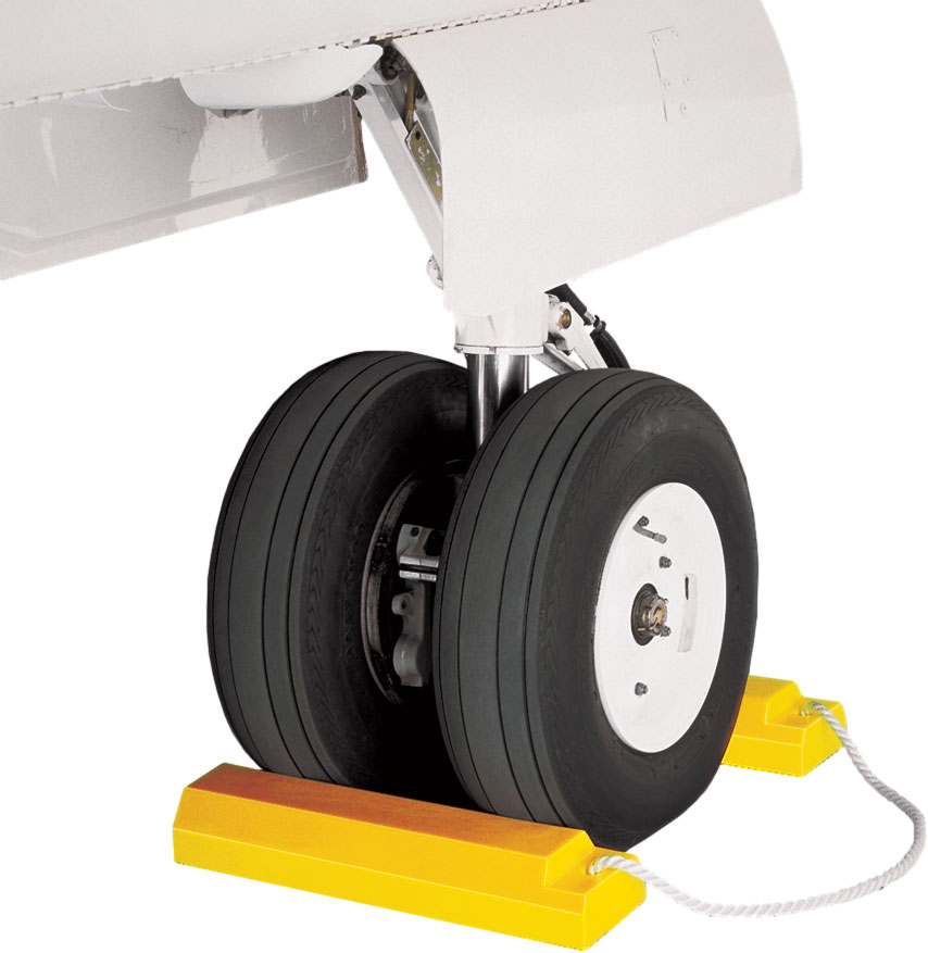 Tigerchocks AC3515-RP-P Urethane Lightweight Commercial Aviation Wheel Chock with Rubber Base