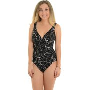 Womens Miraclesuit Swimwear Black and White Swimsuit Slimming 1 Piece Asteria