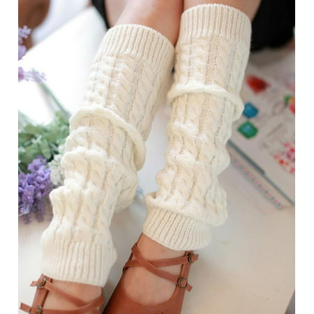 Fashion Women Winter Warm Leg Warmers Knitted Crochet Long Socks White