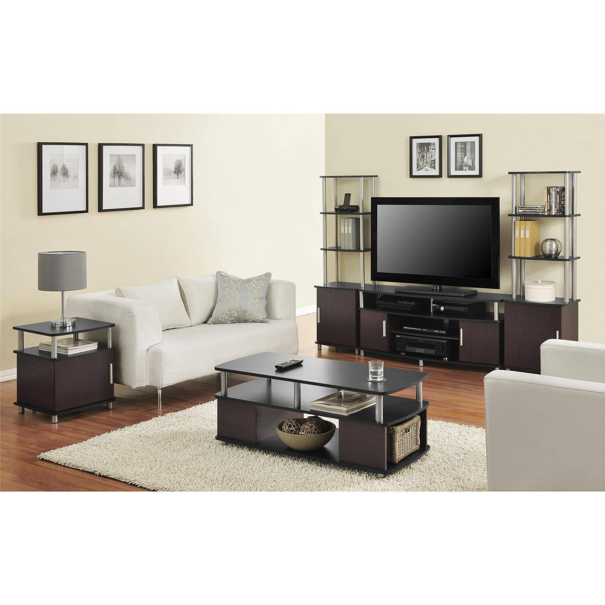Ameriwood home carson coffee table espresso silver walmart com