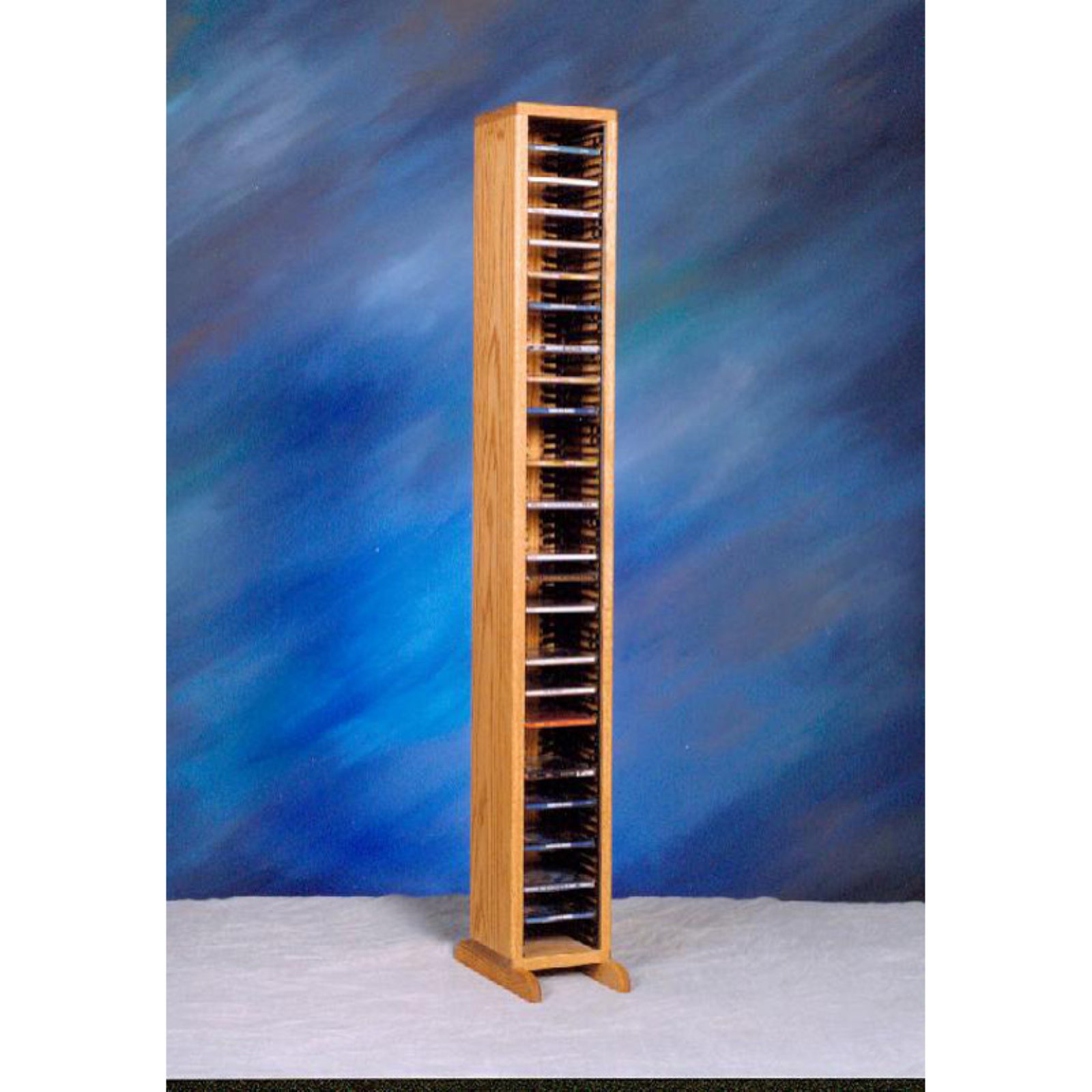 The Wood Shed Solid Oak 80 CD Media Tower with Individual Locking Slots