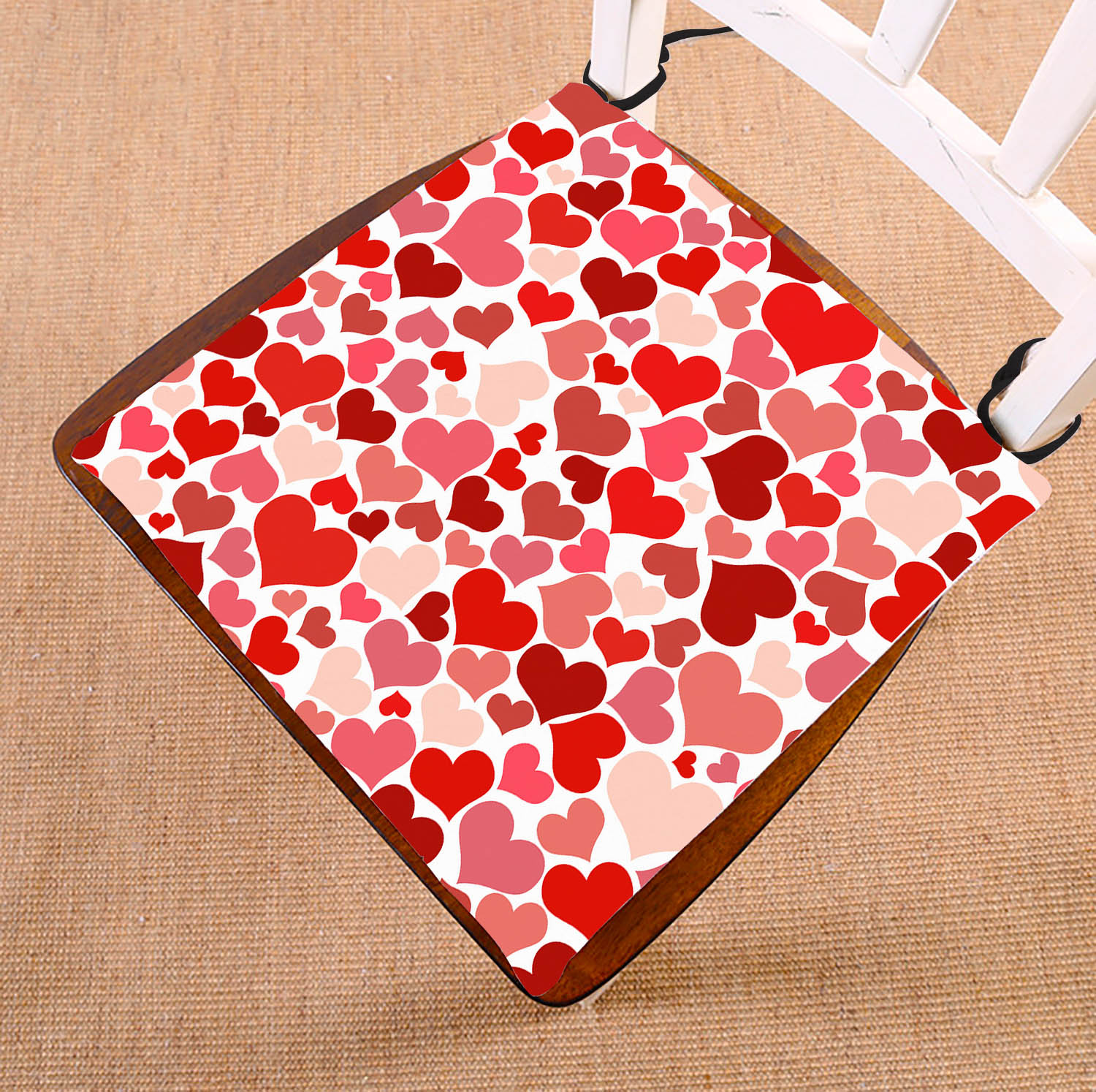 GCKG Valentine's Day Gift Pattern Chair Pad Seat Cushion Chair Cushion Floor Cushion with Breathable Memory Inner Cushion and Ties Two Sides Printing 16x16inch