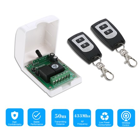 Smart Home 433Mhz RF DC 12V 2CH Learning Code Wireless Remote Control Switch Relay Receiver Transmitter Universal Remote Switch System and Long Range 50M RF Transmitter Remote Controls 1527 ()
