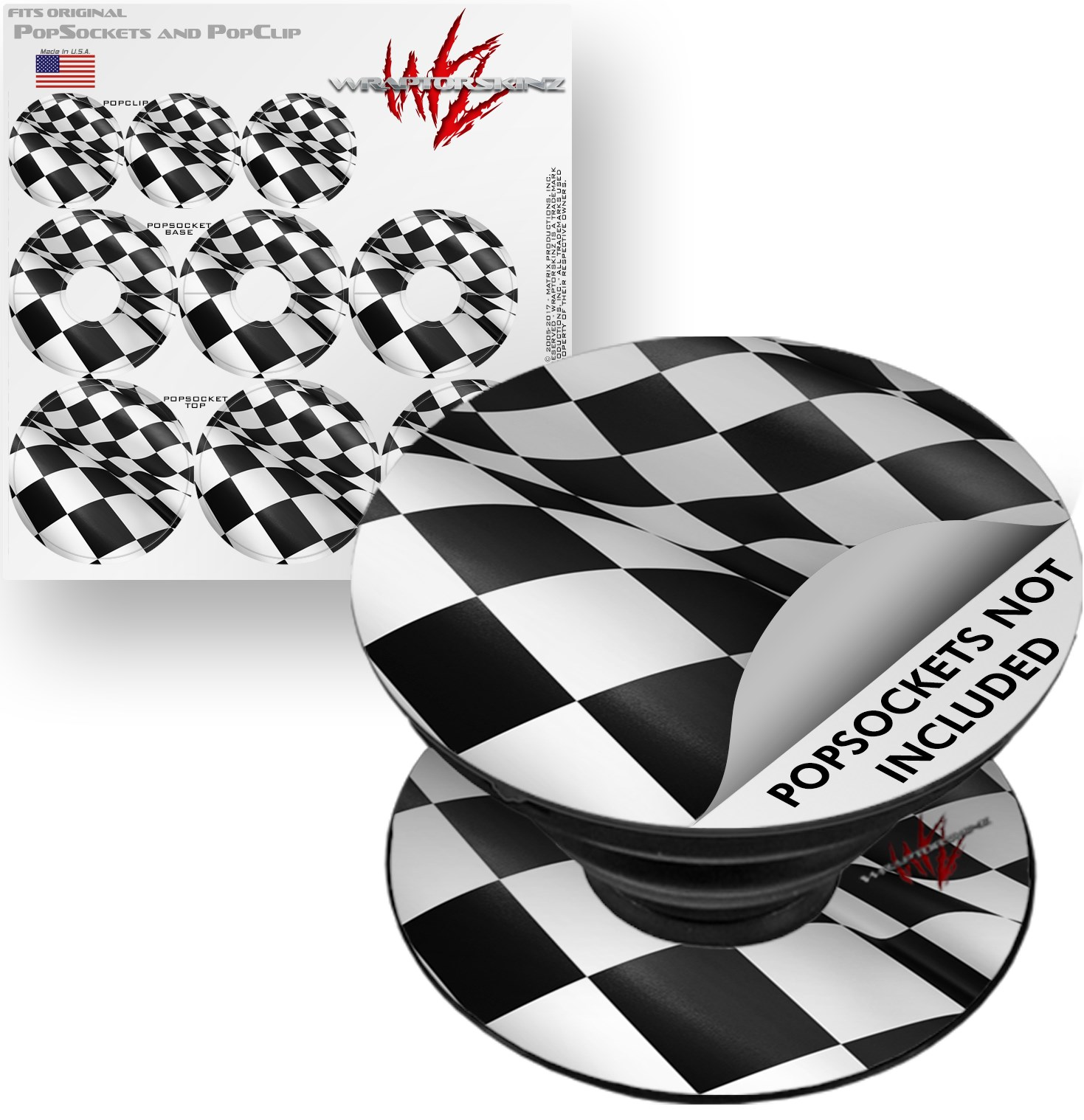 Decal Style Vinyl Skin Wrap 3 Pack for PopSockets Checkered Racing Flag (POPSOCKET NOT INCLUDED) by WraptorSkinz
