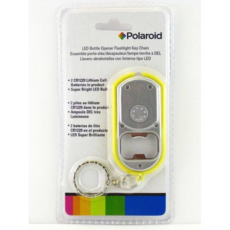 Polaroid LED Bottle Opener Flashlight Key Chain (Yellow)
