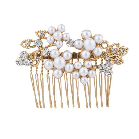 Leaf Comb - Lux Accessories Gold Tone Crystal Rhinestone Faux Pearl Flower Leaf Hair Comb