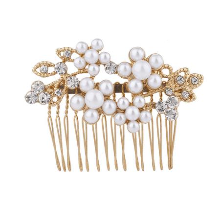 Leaf Comb - Lux Accessories Gold Tone Crystal Rhinestone Faux Pearl Flower Leaf Hair Comb