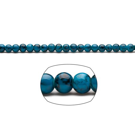 Blue Marble Grain Patterned Glass Beads 6mm Round 154-Bead Count