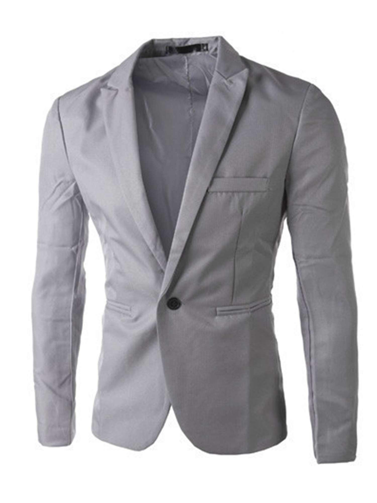 Mens Casual Slim Fit Formal Business One-Button Suit Blazer Coat Jacket Tops