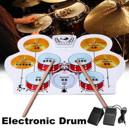 Electronic Drum Kit Digital Foldable Roll-Up Drum Pad Set Instruments with Drum Sticks Foot Pedals for Practice Starters Kids