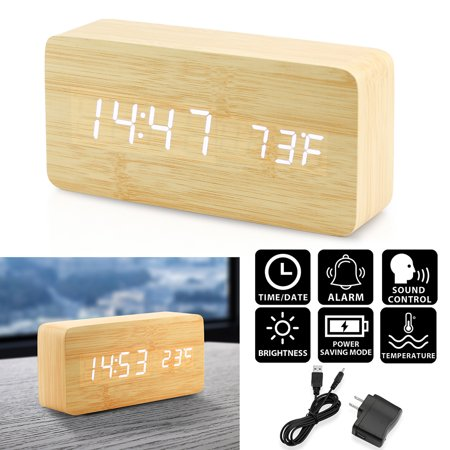 Oct17 Digital LED Wooden Desk Clock Alarm Snooze Voice Control Timer Thermometer - -