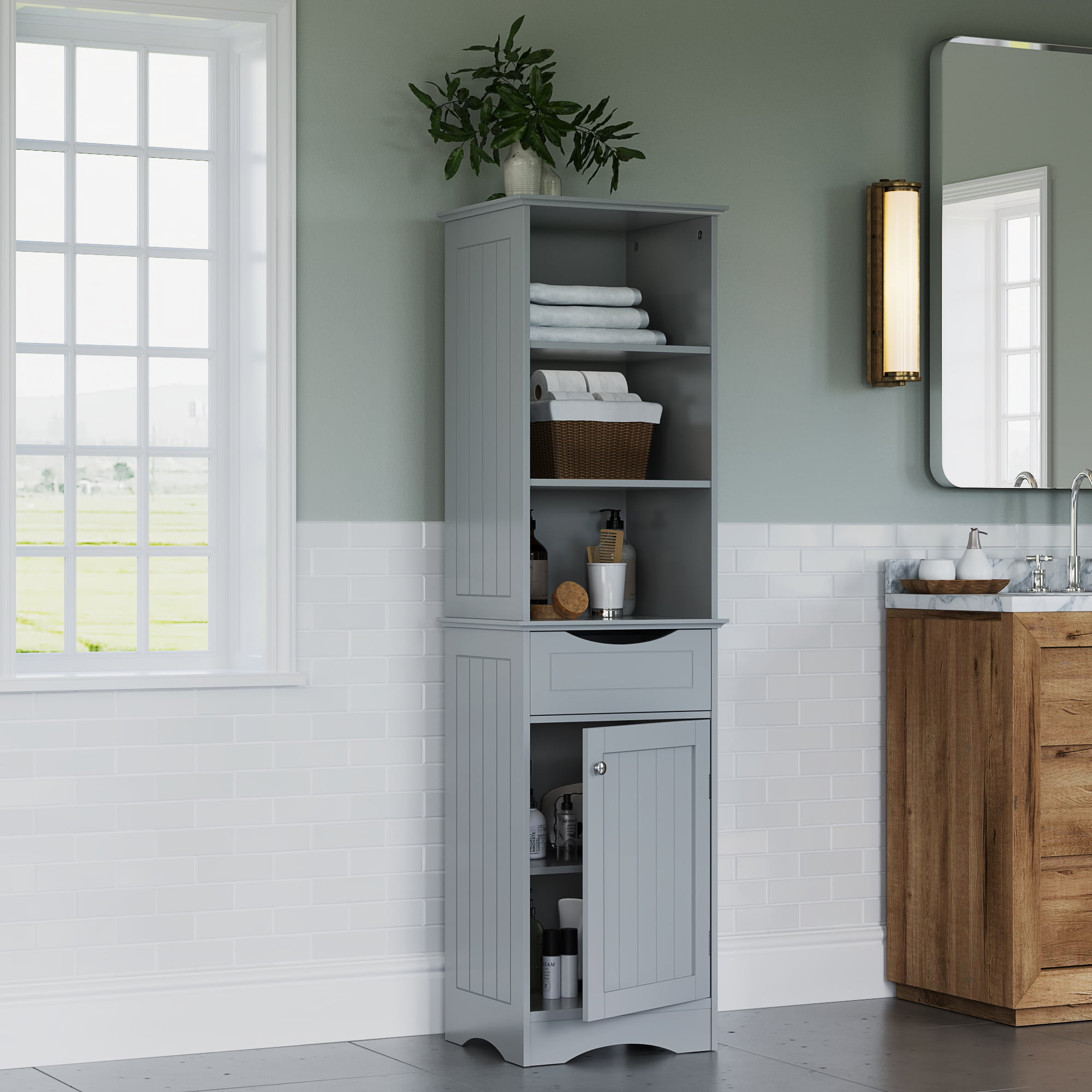 RiverRidge Ashland Collection Tall Linen Cabinet for ...