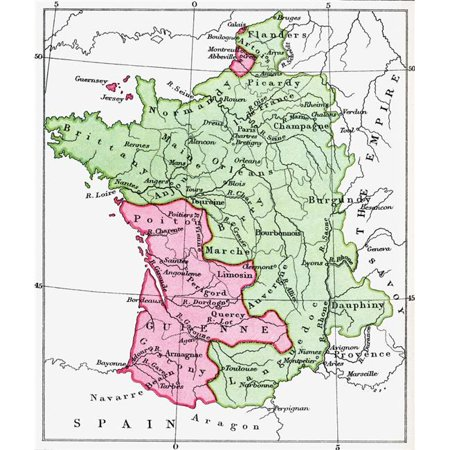 Map Of France In English.Posterazzi Dpi1877922large Map Of France At The Time Of The Treaty Of Bretigny 1360 From The Book Short History Of The English People By J R Green