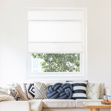 Chicology Cordless Magnetic Roman Shades, Privacy Fabric Window Blind, Mountain Snow (Thermal)...