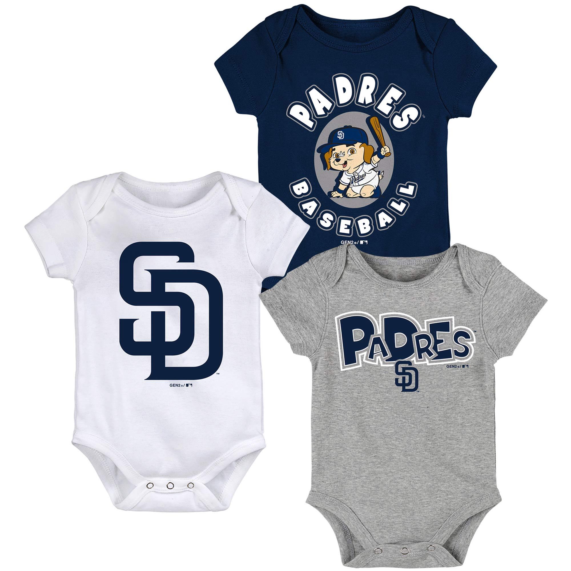 San Diego Padres Newborn & Infant Everyday Fan Three-Pack Bodysuit Set - Navy/White/Gray
