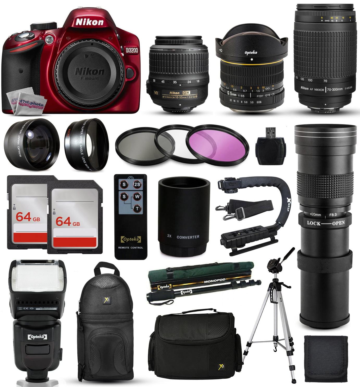 Nikon D3300 Red DSLR Digital Camera + 18-55mm VR + 6.5mm ...