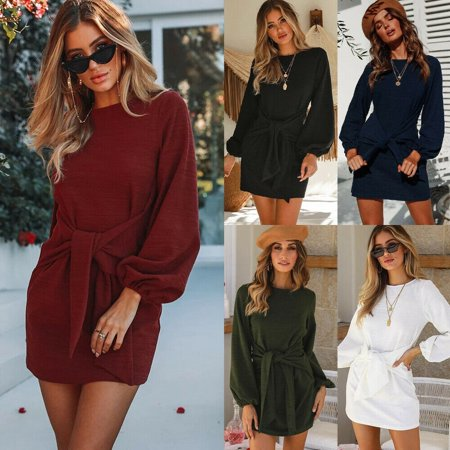 Women´s Round Neck Puff Sleeve Belted Tie Knot Front Tunic Pencil Dress Long Sleeve Casual Party Knit Dress Long Sleeve Knot Front Dress