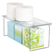 Mainstays Stackable Storage Shelf Clear Plastic with Folding Chrome Base
