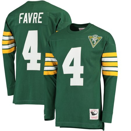 Brett Favre Green Bay Packers Mitchell & Ness Throwback Name & Number Long Sleeve T-Shirt - Green